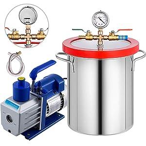 Bestauto Vacuum Degassing Chamber Kit 5 Galllon Degassing Chamber Stainless Steel Vacuum Chamber Kit with 5 CFM 1/3HP Single-Stage Vacuum Pump(5CFM Vacuum Pump + 5 Gallon Vacuum Chamber)