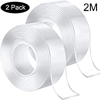 Double Side Adhesive Tape Silicone Tape Removable Transparent Tape Reusable Nano Tape for Home, Wall, Kitchen (2 m, 2 Pack)