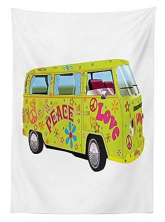 Vipsung 1960er Dekorationen Tischdecke Hippie Van Mit Vorhängen Und
