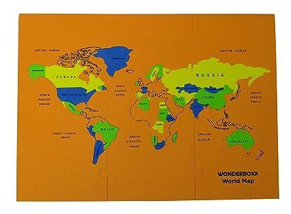 Buy Tinny Eva Pre-School World Physical Map Puzzle Kids Educational ...