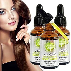 Hair Salon Essential Oil, 2020 Premium Argan Oil Hair Treatment - For Beautiful Hair & Healthier Scalp Soft and Light Care for Damaged Hair, Giving Hair Shine and Gloss 3Pcsx30ML