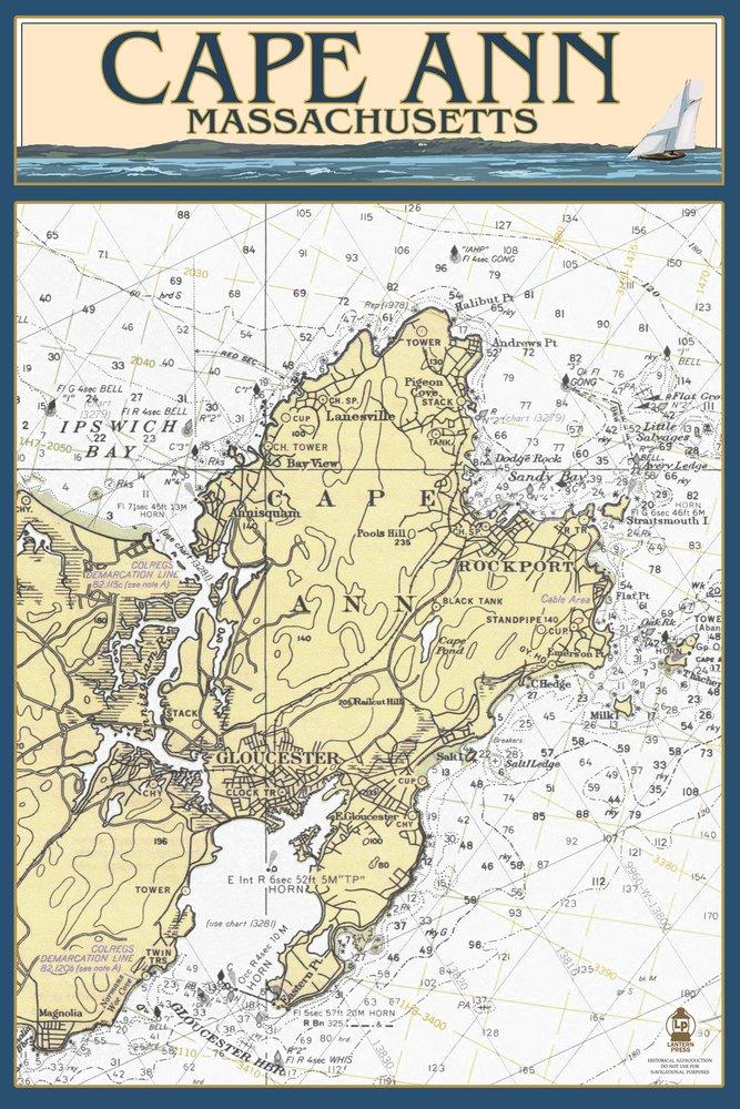 ケープアン、マサチューセッツ州 – Nautical Chart 10 x 15 Wood Sign LANT-44874-10x15W B07366WCX9 10 x 15 Wood Sign10 x 15 Wood Sign
