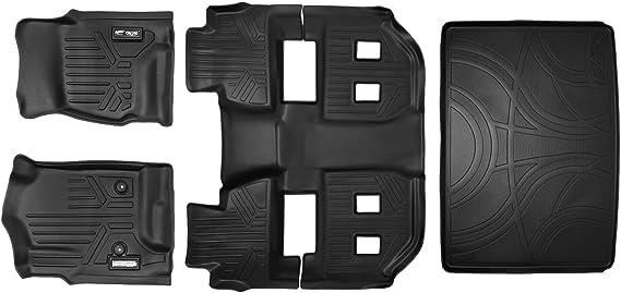 MAXLINER Floor Mats 3 Rows and Cargo Liner Behind 3rd Row Set Black for 2015-2018 Chevy Suburban / GMC Yukon XL