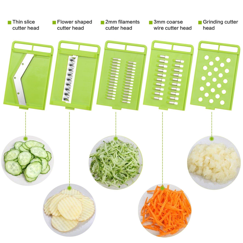 Mandoline Slicer with Free Cut resistant gloves, Potato Slicer-Vegetable Chopper Slicer with 5 Pieces Adjustable Stainless Steel Blades