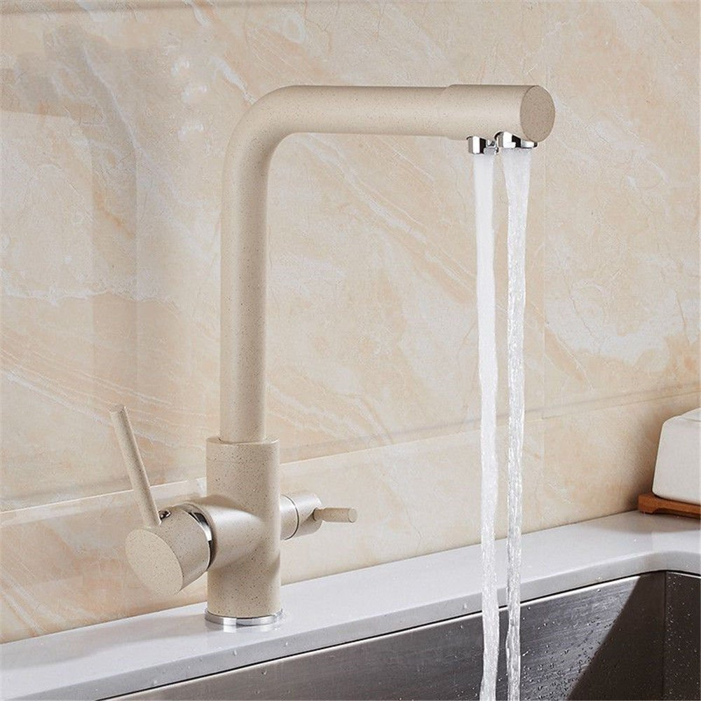 Commercial Kitchen Faucet Pull Out Kitchen Sink Faucet European hot and Cold Water Mixing Valve Copper Kitchen Faucet Water Purifier Faucet Sink Faucet 360 ° redating Double Water Single Hole Faucet