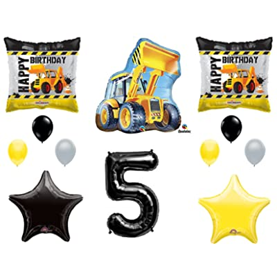 5th BIRTHDAY CONSTRUCTION Balloons Decoration Supplies Party Boy Dump Truck Bulldozer Fifth (Original Version): Everything Else
