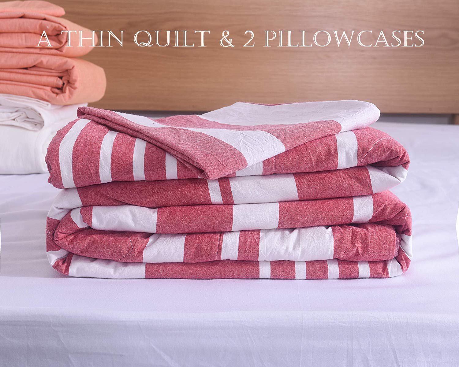 Thin Quilt Lightweight Comforter 100/% Washed Cotton Machine Washable with Sham Softer Comfy Breathable Can Sleep Naked for Summer 3 Pieces Comforter Set
