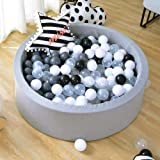 Triclicks Baby Kids Children Ball Pit with 200 Balls, 90 x 30cm / 200 Balls ∅ 7Cm, Soft Toddler Play Round Ball Pool For Indoor and Outdoor, Grey