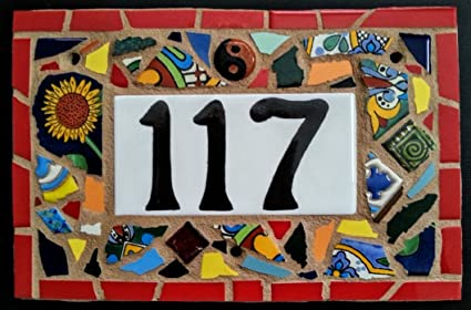 fea4dd98de82b Tile Mosaic House Number Plaque, Address or Name Sign, Custom Hand Made