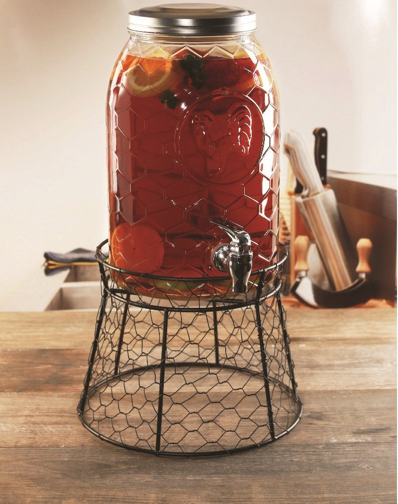 Circleware 69142 Rooster Glass Beverage Dispenser with Metal Fence Stand and Lid Sun Tea Jar with Spigot Entertainment Kitchen Glassware Drink Water Pitcher for Kombucha Juice, 1.5 Gal by Circleware (Image #2)