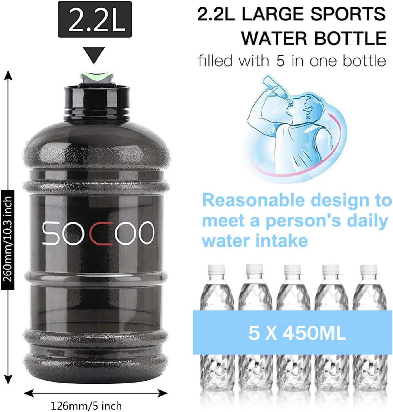 Contenedores de Agua para Acampar SOCOO Botella de Deportes Acu/áticos de 2,2 litros sin BPA Botella de Agua Port/átil para Gimnasio//Viajes//Ejercicio//Deporte