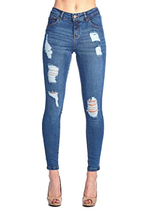 c92e4493384449 Blue Age Women's Well Stretch Distressed Denim Skinny Jeans (JP1033_MED_1)