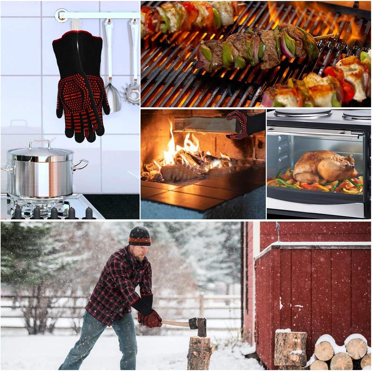 certificati Secondo EN 407 e CE Lungo Polsino,1 Paio Luoistu Touchscreen Guanti da Forno Barbecue Guanti da Cucina Resistenti al Calore Fino a 800 /° C Dimensioni universali Antiscivolo