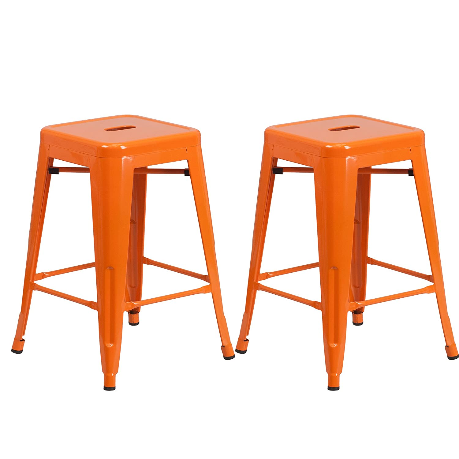 Vogue Furniture Direct Barstool 24 Backless Metal Stools Orange Set of 2 -VF1571003
