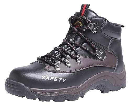 Bota Calzado Zapatos Zapatillas De Seguridad para Hombre Trabajo con Tapa Acero Industria Deportiva Antideslizante Negro01