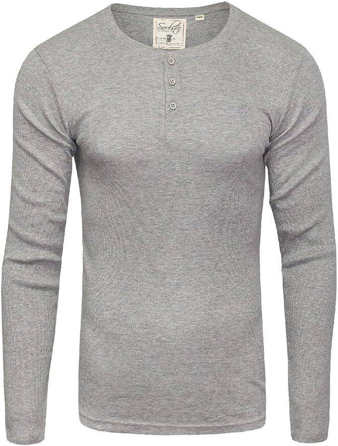 Mens GREY BLACK WHITE Long Sleeve Grandad Henley Buttoned T-Shirt Tshirt