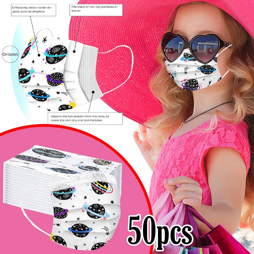 50PC, pour Adultes r/éutilisable et Lavable Tissu Lavable Jetable 3 Couches 50 pcs Plan/ète Imprim/é pour Enfants