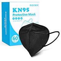 KN95 Face Mask 60 Pack, BLScode Individually Wrapped 5-Layer Breathable Cup Dust Mask with Comfortable Elastic Ear Loops, Filter Efficiency≥95%