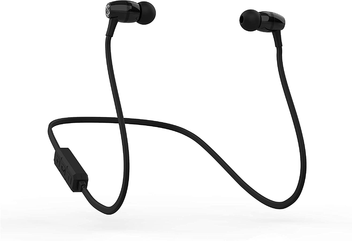 SCOSCHE BT102 Rechargeable Bluetooth Wireless Earbuds with in-Line Microphone, Music Control Buttons and Noise Isolating Ear Cushions in Black