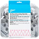 Ateco 783 - 55 Piece Cake Decorating Set, Includes 52 Stainless Steel Tubes, 1 Standard Coupler, 2 Flower Nails in Hinged Storage Box