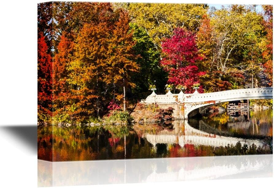 Amazon Com Wall26 Bridge Canvas Wall Art Central Park Bow Bridge In Fall New York City Gallery Wrap Modern Home Art Ready To Hang 12x18 Inches Posters Prints