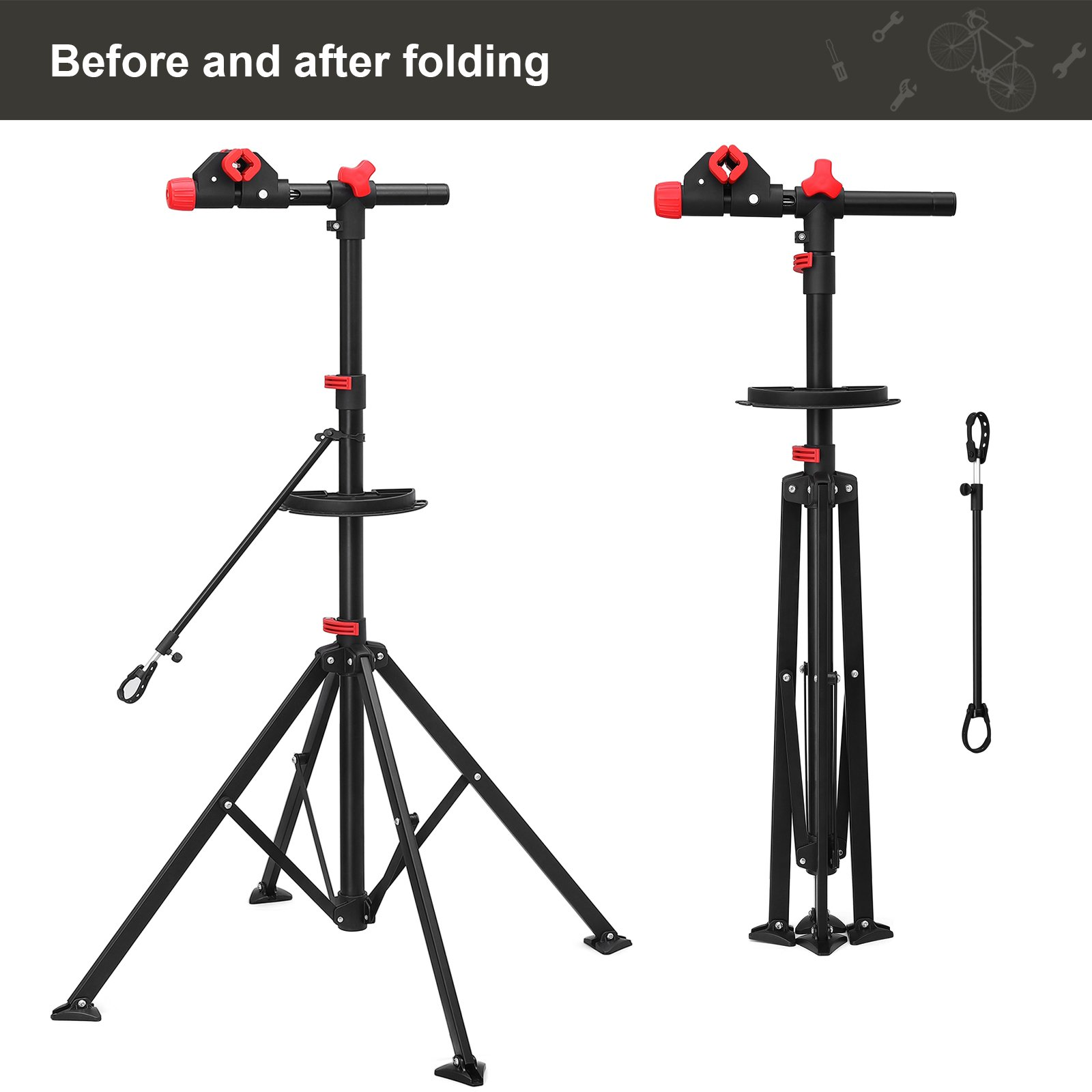 SONGMICS Pro Mechanic Bike Repair Stand with Tool Tray Telescopic Bicycle Maintenance Rack Workstand Lightweight and Portable USBR02B by SONGMICS (Image #9)
