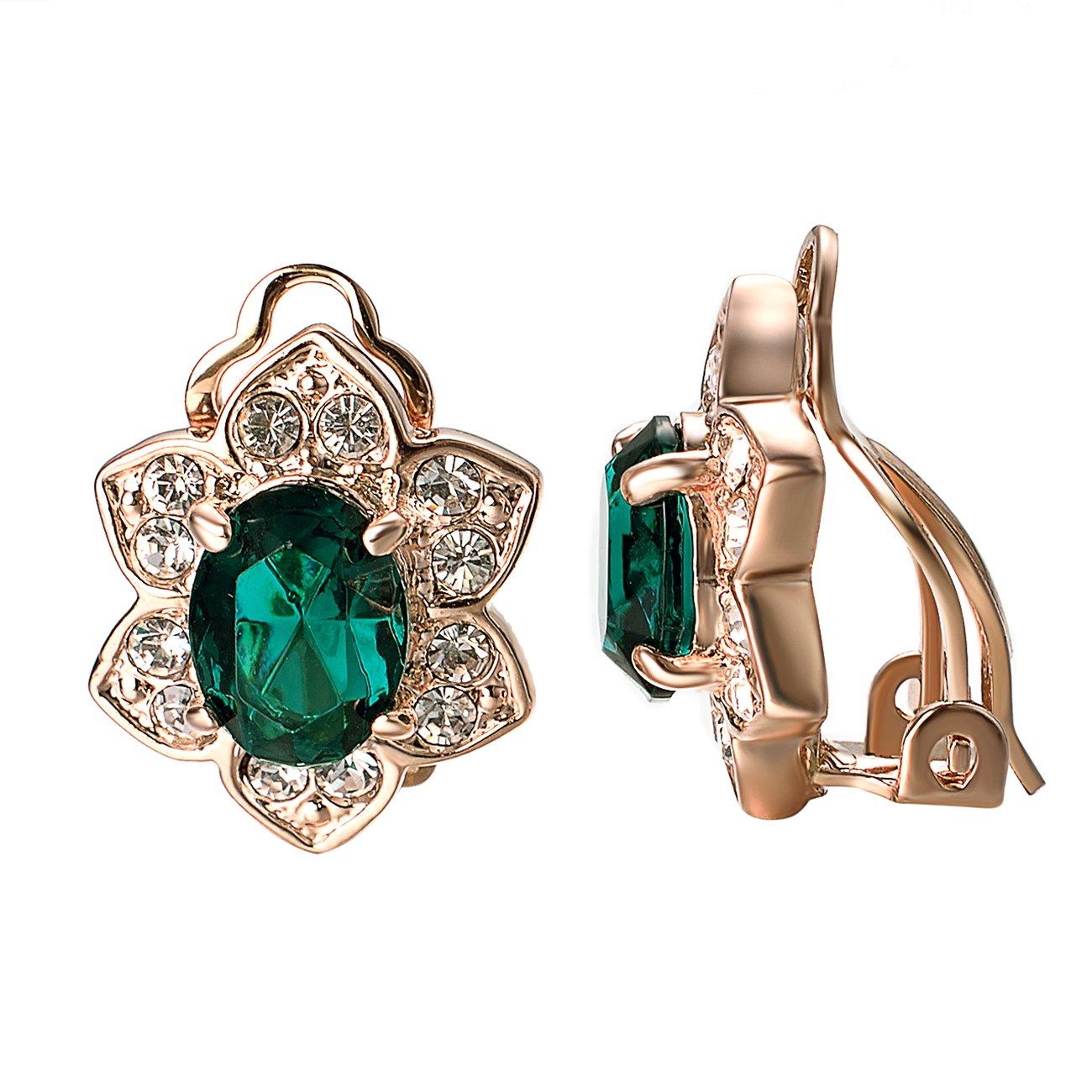 Yoursfs Flower Clip On Earrings for Women Non Pierced Ears Crystal Wedding jewelry (Green)