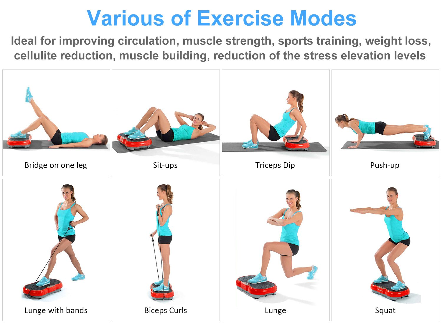 iDeer Vibration Platform Fitness Vibration Plates,Whole Body Vibration Exercise Machine w/Remote Control &Bands,Anti-Slip Fit Massage Workout Vibration Trainer Max User Weight 330lbs (Red09006) by IDEER LIFE (Image #5)