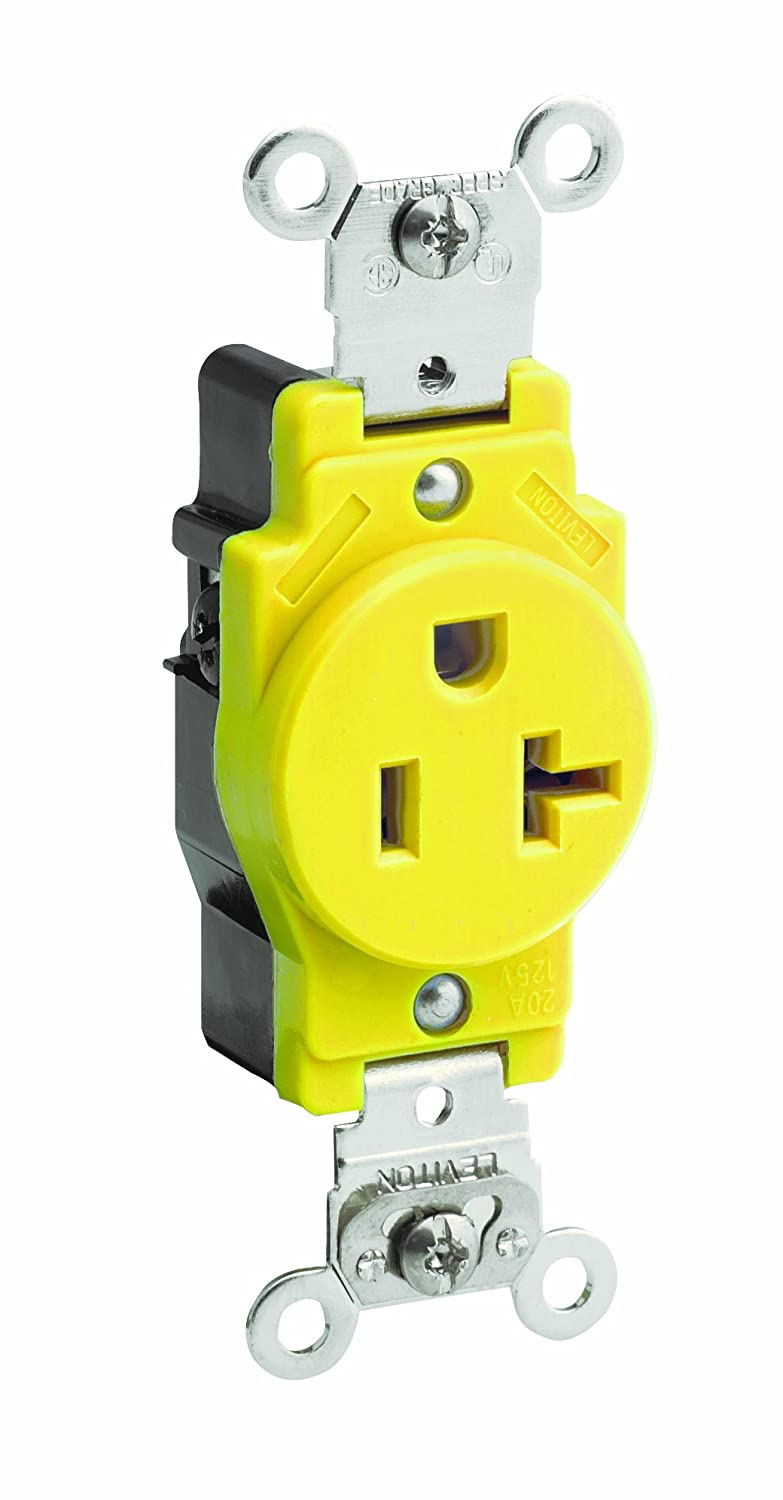 Yellow Industrial Grade Corrosion Resistant Leviton 5361-CR 20 Amp 125 Volt Straight Blade Grounding Narrow Body Single Receptacle