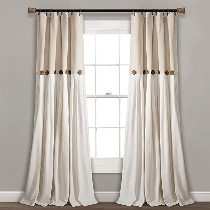 "Lush Decor Linen Button Window Curtain Single Panel, 84"" x 40"", 84""x 40"""
