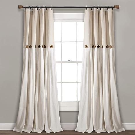 Amazon Com Lush Decor Linen Button Window Curtain Single Panel 84 X 40 84 X 40 Home Kitchen