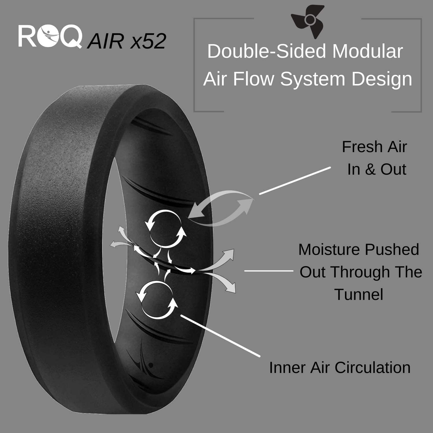 Breathable Silicone Rings with Comfort Fit Air Flow Design 8mm Beveled Mens Silicone Rubber Medical Grade Bands Comes in 1//4//6 Packs ROQ Silicone Ring for Men Safe Wedding Rings for Men