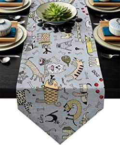 Table Runner Funny Animal Cute Pet Bulldog Image Table Runners for Catering Events, Dinner Parties, Wedding, Indoor and Outdoor Parties, 14 x 72 Inch