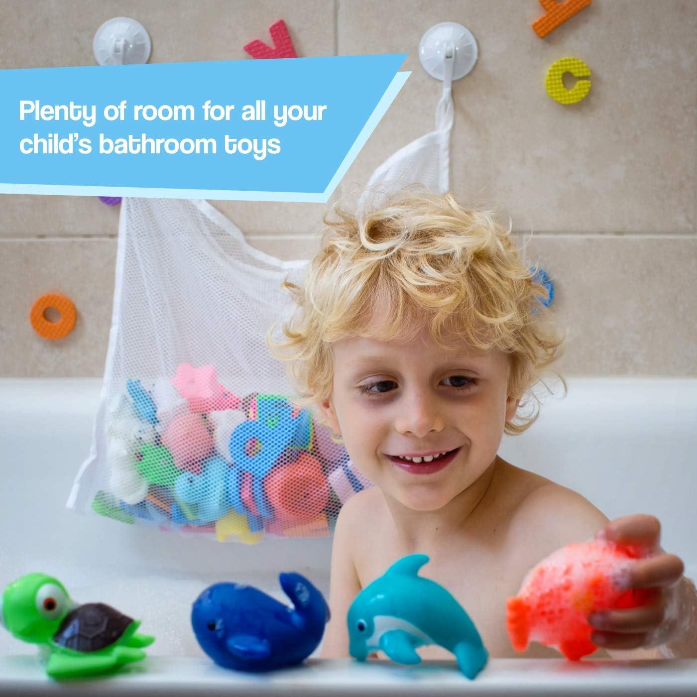 Blue COSY ANGEL Baby Bath Toy Bag for Bath Toys Large Organiser Bathroom Storage Net with 4 Waterproof Self Adhesive Hooks