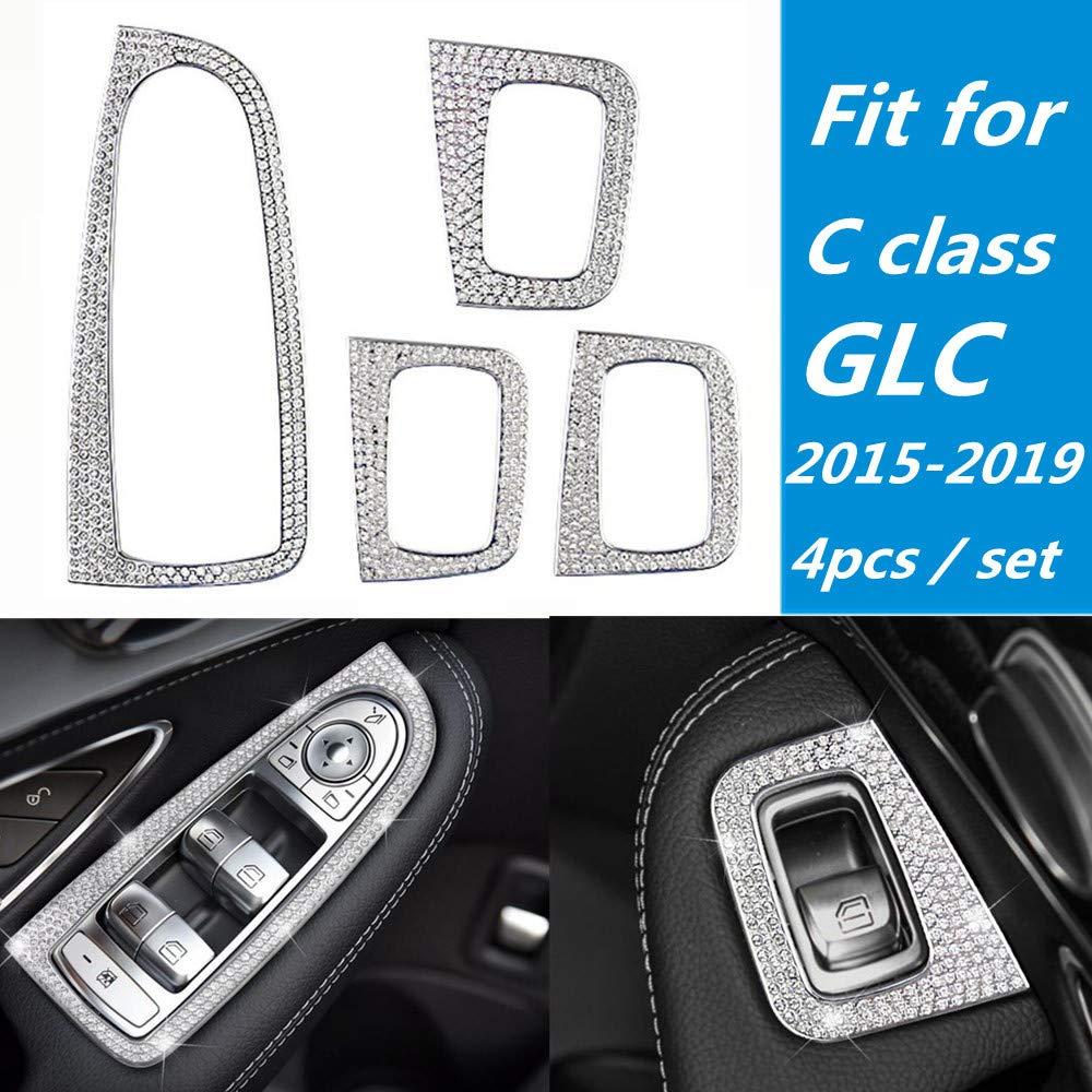 B Style, Silver YUWATON Car Interior Bling Accessories for BMW Bling Accessories Air Conditioner Knob Controls Switch 3D Rhinestone Decal Cover