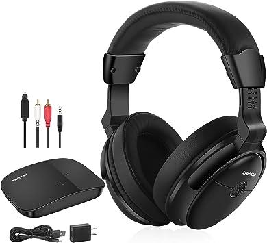 SIMOLIO Audífonos inalámbricos para TV, sobre la oreja para personas mayores con dificultades auditivas, 2,4