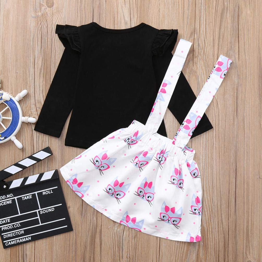 Memela Baby Clothes,Toddler Infant Baby Girls Cartoon Ruched Tops Strap Dot Print Skirt Outfits Set