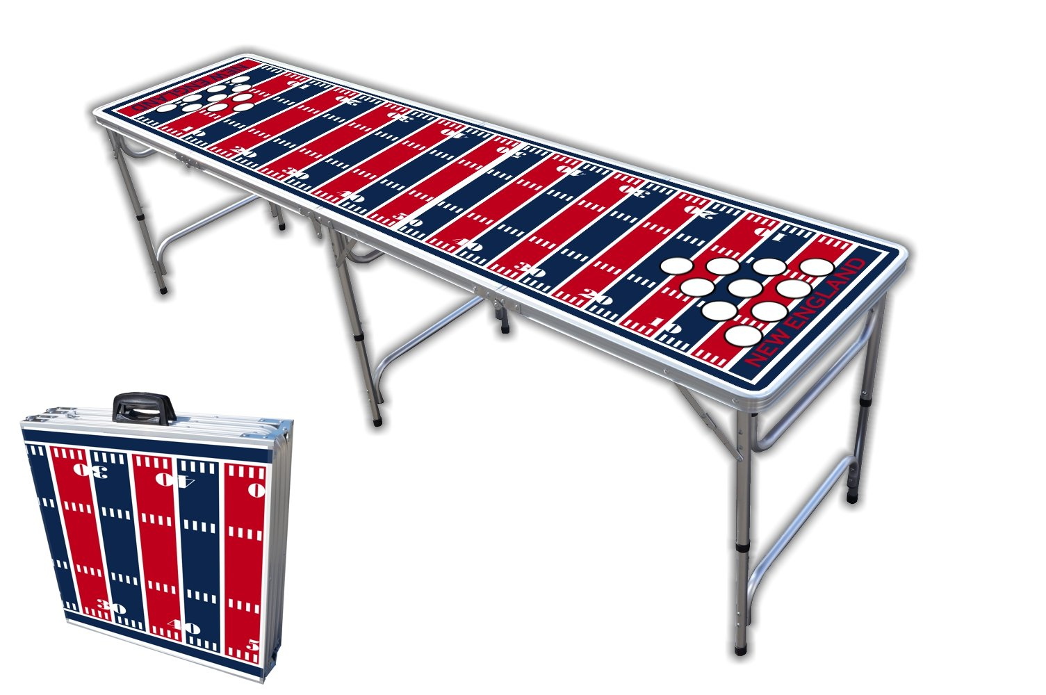 8-Foot Professional Beer Pong Table w/Holes - New England Football Field Graphic by PartyPongTables.com