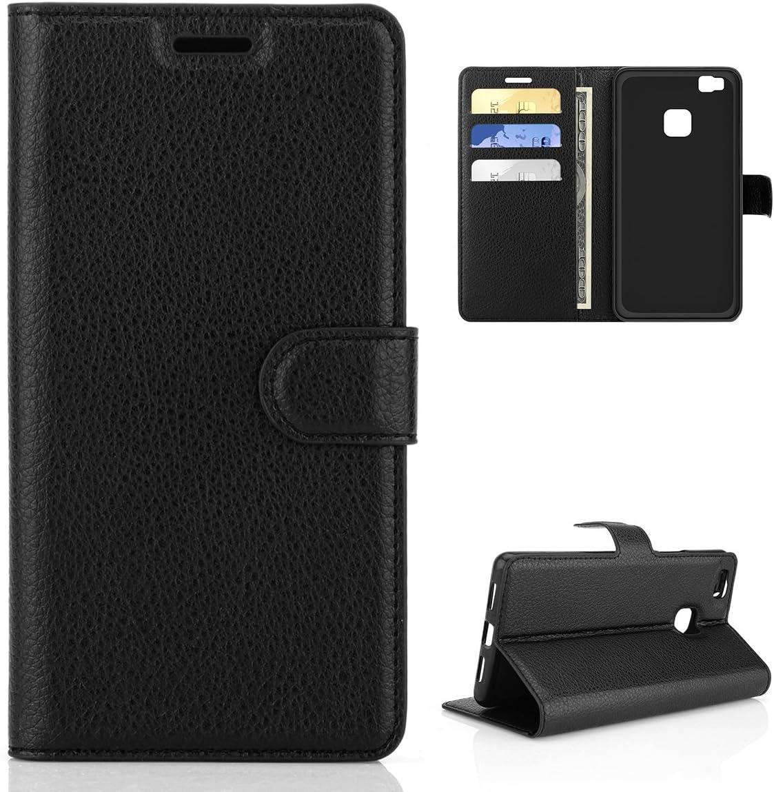 P9 Lite Custodia Cover , Moonmini PU Portafoglio pelle Libro Stand Flip Slot Custodia Case con Chiusura Magnetica per Huawei P9 Lite - Nero
