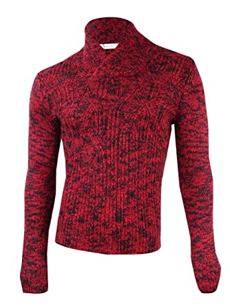 Calvin Klein Mens Asymetric Cable Knit Shawl Collar Sweater At