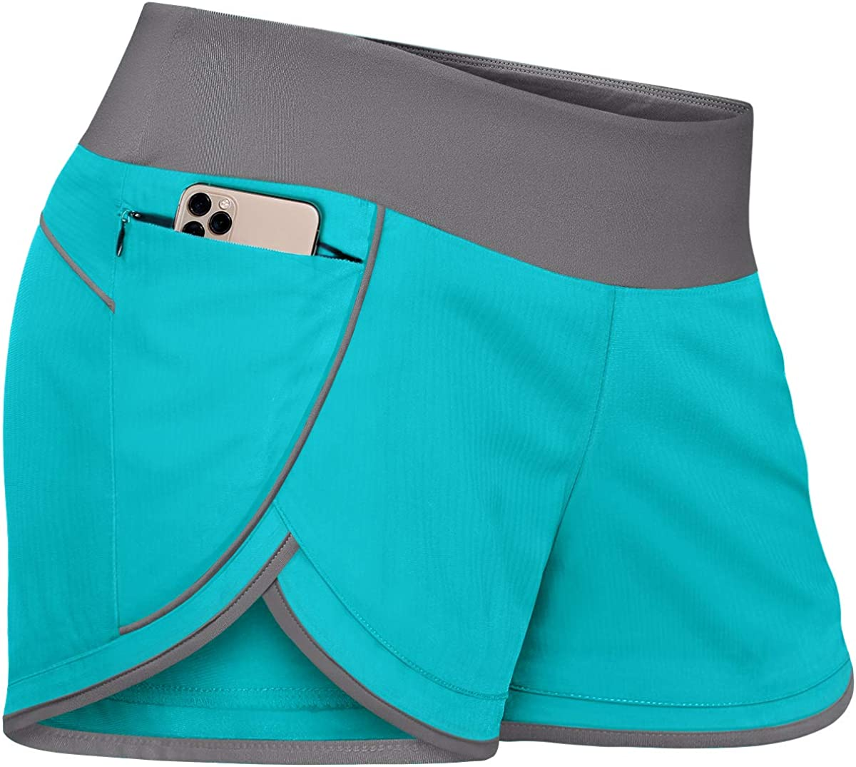 Fulbelle Womens Banded Waist Running Fitness Workout Shorts Invisible Zipper Pockets