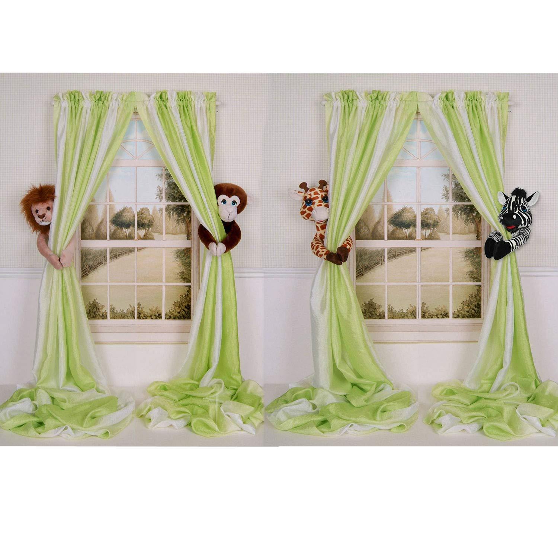 Baby Nursery Jungle Safari Lion,Monkey & Giraffe,Zebra Curtain Tieback Collector Set by Curtain Critters
