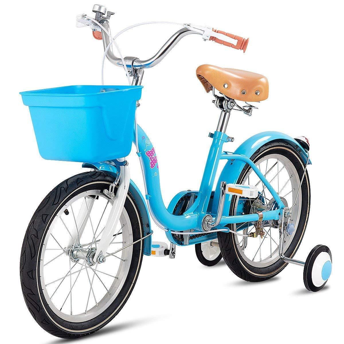 Goplus Kid' s Bike Freestyle Outdoor Sports Bicycle Training Wheels, Basket, Hand Brake Rear Break Boy's Girl's Bike Kids Hand Brake and Rear Break Boy' s and Girl' s Bike for Kids (Blue 12) Superbuy