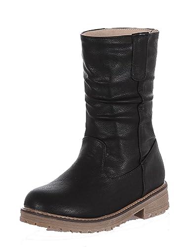 Damen Niedriger Absatz Winter Schnüren PU Rund Zehe Stiefel,EuX70 Schwarz 39 AgeeMi Shoes
