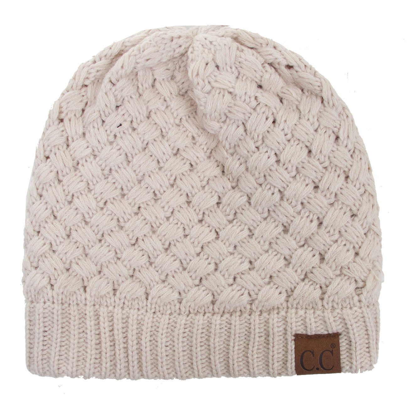 ScarvesMe CC Solid Color Knitted Basket Weaved Pattern Beanie Hat (Beige)