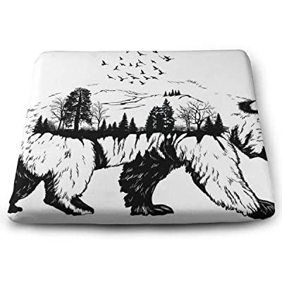 Sanghing Customized Hand Drawn Wildlife Bear 1.18 X 15 X 13.7 in Cushion, Suitable for Home Office Dining Chair Cushion, Indoor and Outdoor Cushion.: Home & Kitchen