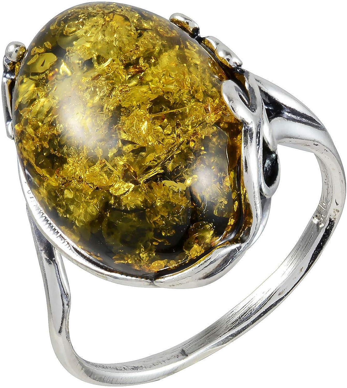 Baltic Amber Jewelry Georgine Amber Silver Ring Women Jewelry Natural Baltic Green Amber Ring Genuine Amber Romantic Stone Gift