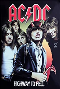 Ryantey Metal Tin Sign Retro Vintage ACDC - Highway to Hell Aluminum Sign for Home and Bar Wall Decor 8x12 Inch (ACDC - Highway to Hell)