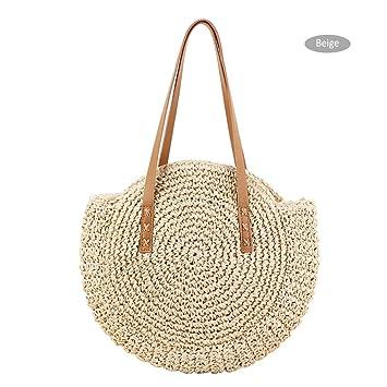 Sommer Strohtasche Strandtasche Rund Gewebte Basttasche Schultertasche Damen DE