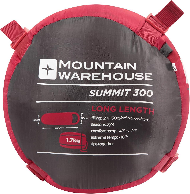 3//4 Season Mountain Warehouse Summit 300 Sleeping Bag 23cm x 41cm Mummy Shaped Camping Bag